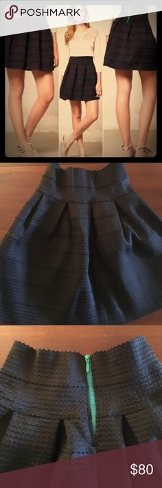 Anthropologie Girls from Savoy Black Bell Skirt New w/out tags. Never worn! Beautiful black bell skirt with exposed turquoise zipper. Must have for your wardrobe! Anthropologie Skirts A-Line or Full