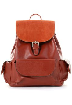 Cognac Flap Pocket Backpack