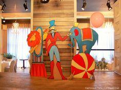 Cardboard cut-out display. Decoration Cirque, Circus Party Decorations, Circus Theme Party, Carnival Birthday Parties, Carnival Themes, Circus Birthday, Birthday Decorations, Party Themes, Homecoming Floats