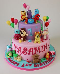 Cbeebies cake with Squiglet, Numberjacks, Iggle Piggle, Raa Raa, Ooo Ooo, Mr Bloom's nursery, Maka Paka, 3rd and Bird, Waybaloo, Alphablocks and Woolly and Tig.