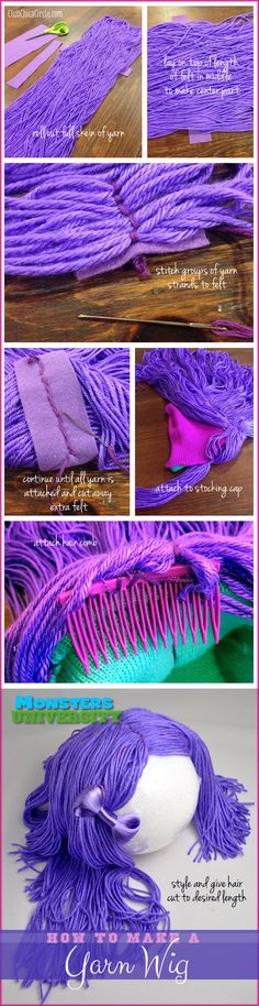 #MonstersU Homemade Yarn Wig tutorial for PNK sorority costume idea