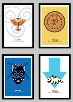 "Avatar the Last Airbender - 13"" x 19"" 4 Poster Set - Minimal Digital Posters"
