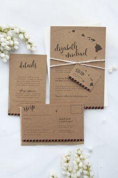 Destination Rustic Wedding Invitation Sets, Premium Kraft Cardboard