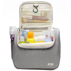Toiletry Bag, Large Hanging Beauty Case with Handle and Hook, Cosmetic Bag for Men and Women, Size: 24 x 19.5 x 12.5 cm by Airlab EXTRAGOUS CAPACITY: The Airlab multifunctional organiser has a main compartment and 8 mesh pockets inside. Your personal care products and small things e.g. Hair cream, lip balm, shampoo, etc. can be better sorted ANTIBACTERIAL MATERIAL: The beauty case is made of high quality ripstop nylon fabric, light but water-repellent and durable. The inner a