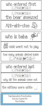 Mitten activities: FREE pocket cards for The Mitten.  Students fix letters that should be capitalized and add end punctuation.  These pocket cards offer a nice way to review the story and assess comprehension.  Graphics cjanbrett from janbrett.com