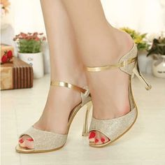 """Daisy Dress for Less """"Fashion Fish Mouth Metallic High Heel Sandals"""" in gold polyurethane and textile, with peep toes, slip-on construction and high wrapped stiletto heels 