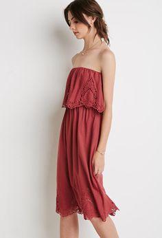 Floral Embroidered Strapless Dress - Forever 21 UK, £26