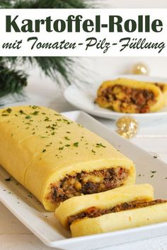 Potato roll with tomato and mushroom filling - instead of potato dumplings for the Christmas menu, vegetarian Christmas, vegan possible, Thermomix vegetarisch lifestyle recipes grillen rezepte rezepte schnell Lacto Vegetarian Diet, Vegetarian Recipes, Salmon Recipes, Lunch Recipes, Albondigas, Vegetable Drinks, Mushroom Recipes, Relleno, Healthy Snacks