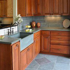 green slate countertops with integrated slate sink, slate tile backsplash and floor tile Slate Bathroom, Slate Kitchen, New Kitchen, Slate Countertop, Bathroom Countertops, Backsplash, Home Decor Kitchen, Kitchen Design, Kitchen Ideas