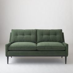 Jack Loveseat - Green Velvet ($2,399) ❤ liked on Polyvore featuring home, furniture, sofas, tufted loveseat, velvet loveseat, plush sofa, green couch and velvet couch