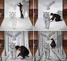 Amazing 3-D Tiger Drawing by Ben Heine. This is so cool