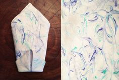 marbled dinner napkins, crafts, how to