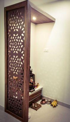 Living Room Partition Design, Pooja Room Door Design, Room Partition Designs, Home Room Design, Home Interior Design, Interior Decorating, Indian Room Decor, Temple Design For Home, Mandir Design