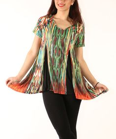 Love this Mint & Red Ikat Scoop Neck Top - Plus by Shoreline on #zulily! #zulilyfinds