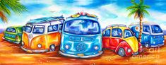 Surfer beach art | Surf Wagons Painting by Deb Broughton - Surf Wagons Fine Art Prints ...