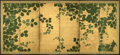 A six fold paper screen painted in ink and colour on a gold ground with trailing vines. Japan. 17th century. Edo period