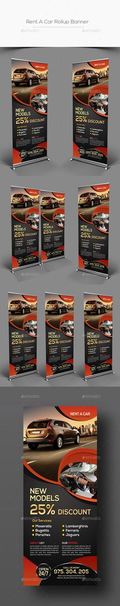 Rent A Car Rollup Banner Template #design Download: http://graphicriver.net/item/rent-a-car-rollup-banner/12782713?ref=ksioks
