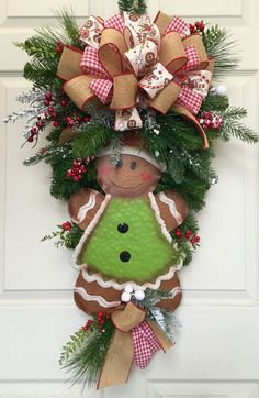 gingerbread christmas pine wreath swag by williamsfloral on etsy - Decorated Christmas Wreaths Pinterest