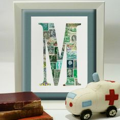 Max and Me vintage postage stamp art - http://babyology.com.au/nursery/max-and-me-vintage-postage-stamp-art.html