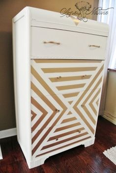 Dresser upcycle by Anew Nature, gold chevron design, retro chic, gold and white