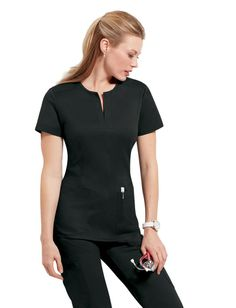 Koi Naomi STRETCH Scrub Top. This super stylish V-Neck scrub top features superior shaping for a more flattering appearance. The perfect fabric has been engineered to have great stretch recovery and a nice soft texture. Pictured in Black. Also available in Navy (Blue) Steel (Gray).