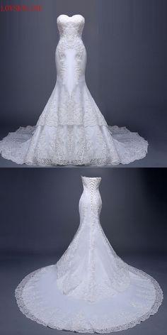 25386e0eb95 long trailing tube top fish tail royal bride hot 2017 Bridal Wedding Gown  Real Photos White