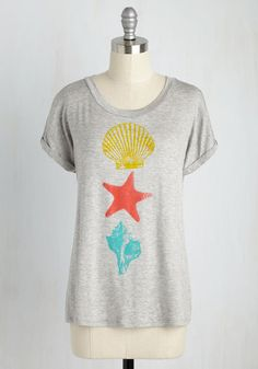 She Sports Seashells Tee - Casual, Nautical, Short Sleeves, Knit, Good, Exclusives, Scoop, Mid-length, Jersey, Grey, Yellow, Coral, Novelty Print, Print