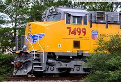 Union Pacific [UP] Engine No. 7499, the lead locomotive of a east-bound Intermodal train