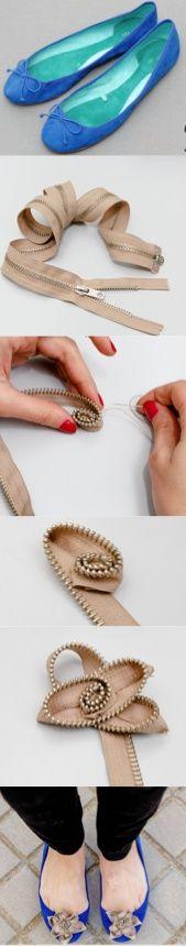 DIY Crimenes de la Moda - Bailarinas con flores de cremalleras - Ballet flats zipper flowers