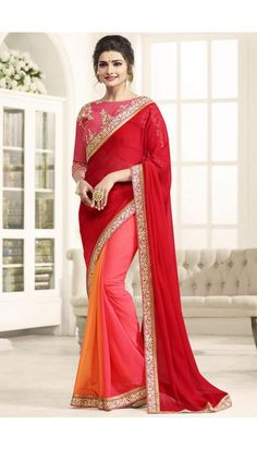 Prachi Desai Red And Pink Georgette Saree With Banglori Silk Blouse - DMV11666