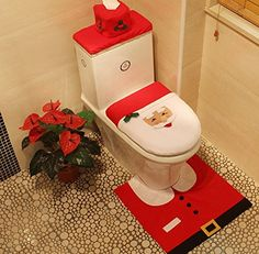 Christmas Santa Toilet Seat Cover, Tissue Box Cover and Rug Set for Bathroom Christmas Ornaments By WINWONBRA *** Want to know more, visit the site now : Christmas Decorations