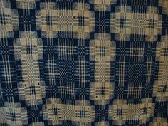 Pre Civil War Historical 1840's Heavy Navy Blue Beige Overshot Wool Coverlet | eBay