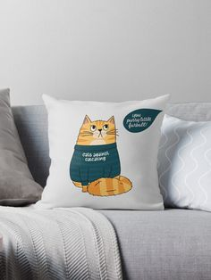 'Cats against Catcalling - Cat in Statement Shirt ' Throw Pillow by Kerstin Ebner Statement Shirts, Funny Pillows, Designer Throw Pillows, Pillow Design, Chiffon Tops, It Is Finished, Cats, Cover, Gatos