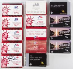 Lot 45: US Silver Proof Set Assortment; Fourteen sets including: 2002, 2003, 2004, 2005, 2006, 2007, 2008, 2009, 2010, 2011, 2012, 2013, 2014 and 2015