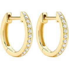 Kiki McDonough Kiki Classics 18k Yellow Gold Diamond Hoop Earrings ($805) ❤ liked on Polyvore featuring jewelry, earrings, yellow gold hoop earrings, gold earrings, 18 karat gold earrings, gold diamond earrings and pave diamond earrings