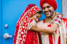 6 sikh indian wedding couple portrait red lengha red turban by Nimboo Photography via http://www.indianweddingsite.com/james-bond-themed-indian-wedding-south-asian-wedding-centre/