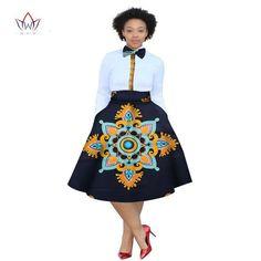 2017 christmas dress Plus Size 2 Pieces African Print Dashiki Shirt Skirt Set Bazin Rche Femme Africa Clothing natural African Attire, African Dress, Dashiki Shirt, African Fashion Ankara, African Traditional Dresses, Shirt Skirt, Plus Size Fashion For Women, Plus Size Outfits, Skirt Set