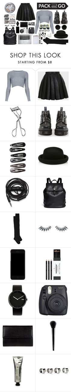 """Monochrome Heaven"" by lisok ❤ liked on Polyvore featuring Topshop, Balmain, Lancôme, Dr. Martens, Clips, Monsoon, Urbanears, Alexander McQueen, Boohoo and Napoleon Perdis"