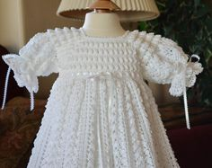 White Christening/Blessing Gown with White by CherryHillCrochet