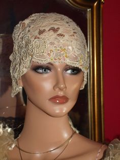 Hat Flapper Hat Cloche Lace  Millinery Floral Exclisive embroidery lace 20 s Theme