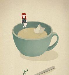 Tea Coffee girl paper boat ship