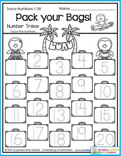 These penguin pals are so ready to go on their summer vacation. Can you guess where they're going? And how many bags are they taking? Trace the numbers to find out. You'll find this worksheet and plenty more in my August Counting Worksheets set. It includes number tracing, counting to 5, counting to 10, color by number, graphing and more. Thank ahead of time! Counting Worksheets For Kindergarten, Summer Worksheets, Graphing Worksheets, Kindergarten Math, Trace Trace, Number Tracing, Writing Lines, Learn To Count, My Teacher