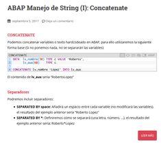 Manual SAP/ABAP para manejo de string (I): Concatenate Texts