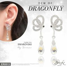 """Dew of #Dragonfly"" Crystal #Swarovski #elements #Briolette design #Aurora Boleale color ($49)"