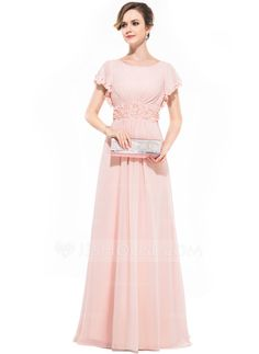 A-Line/Princess Scoop Neck Sweep Train Ruffle Beading Flower(s) Sequins Zipper Up Sleeves Short Sleeves No Pearl Pink Winter Spring Summer Fall General Plus Chiffon Evening Dress