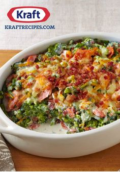 Creamy Broccoli-Bacon Bake – Shredded cheddar cheese and smoky bacon give this tasty broccoli bake its creamy flavorful appeal.