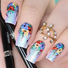 Beautiful Floral nail design - Chrome nails  @urbannailart uses 01 Warrior & 02 Needle SoNailicious Brushes - available from http://sonailiciousboutique.com  #sonailiciousbrush #nailart