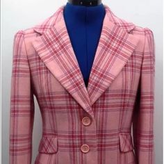 Juicy Couture Pink Blazer Pre owned in great condition plaid Juicy Couture Pink blazer with patches on the elbows. Very warm blazer. Size medium. Please message with any additional questions. Juicy Couture Jackets & Coats Blazers