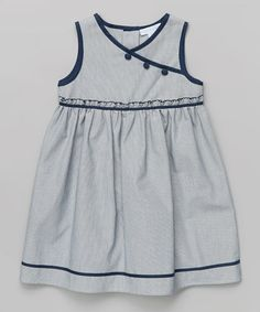 Navy Surplice Dress - Infant, Toddler & Girls by La Fleur & Le Papillon