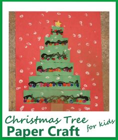 This Christmas tree craft made with construction paper and paint is a lot of fun for kids!